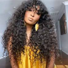 Human-Hair-Wigs Brazilian Lace with Bangs Deep-Curly for Black-Women Full-Machine