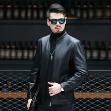 Leather 2021 spring stand collar sheepskin jacket for young and middle-aged men