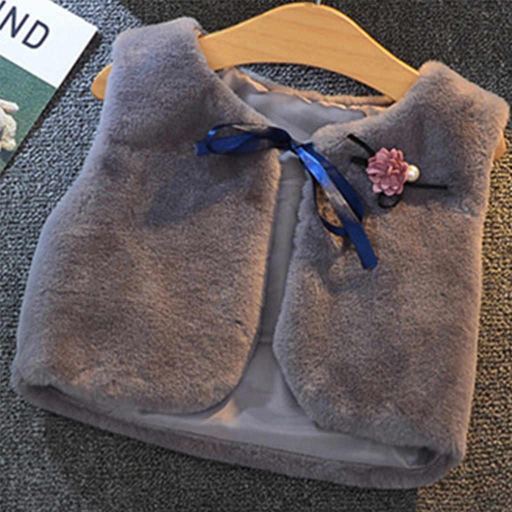 Chalecos sólidos para niños pequeños para invierno niños niñas ropa de abrigo de invierno Chaleco de piel sintética gruesas prendas de vestir kurtka dziewczynka