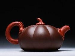 Chińska ceramika Yixing Zisha 350cc purpurowa glina czajniczek ręcznie robiony garnek z dyni w Posągi i rzeźby od Dom i ogród na