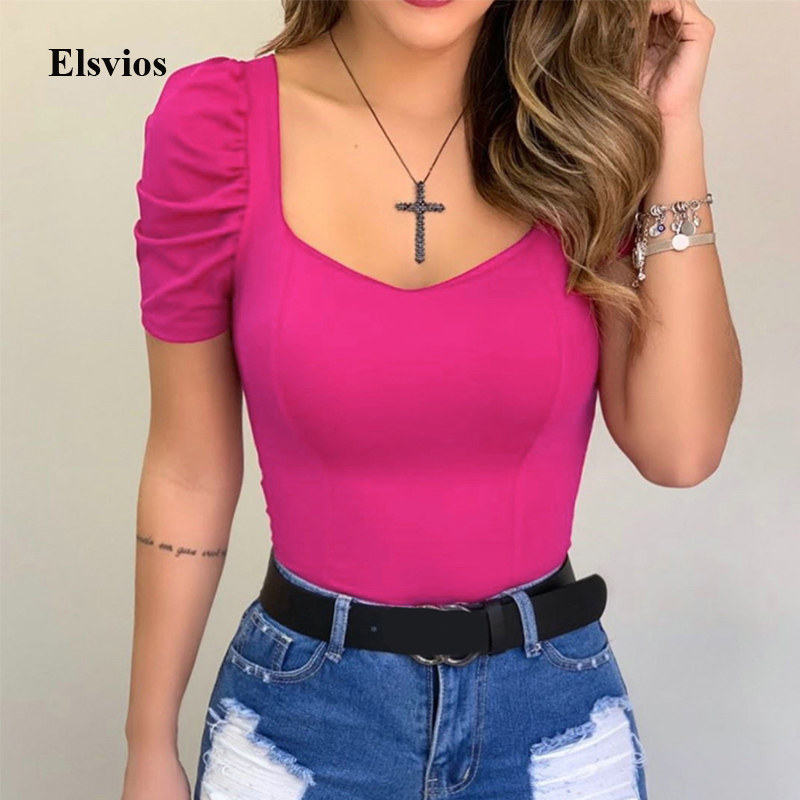 Summer Pleated Short Sleeve Blouse Spring Women Slim Fit Shirt Blouse Casual Female Square Collar Blusa Tops Pullover Streetwear