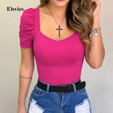 Summer Pleated Short Sleeve Blouse Spring Women Slim Fit