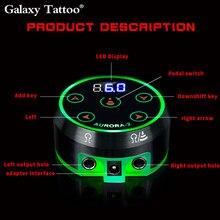 Aurora-2 tatuagem fonte de alimentação preto prata atualizar digital lcd touch display com adaptador de energia para mini máquina de tatuagem