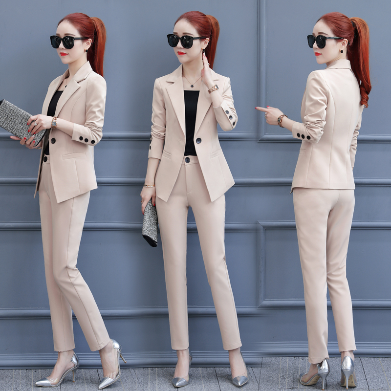 2020 Spring And Autumn New Small Suit Jacket Fashion Temperament Professional Wear Casual Suit 2 Piece Suit Female Tide Wild