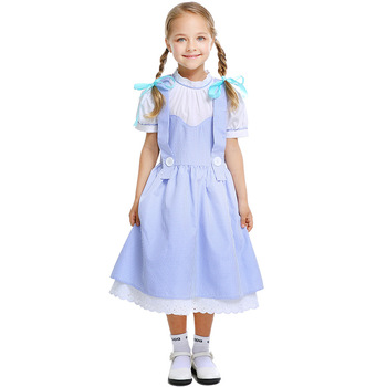 New Stage Drama Performance Clothing Halloween Costume Children's Day COS Clothing Cotton Plaid Dorothy Kids Girl Fancy Dress
