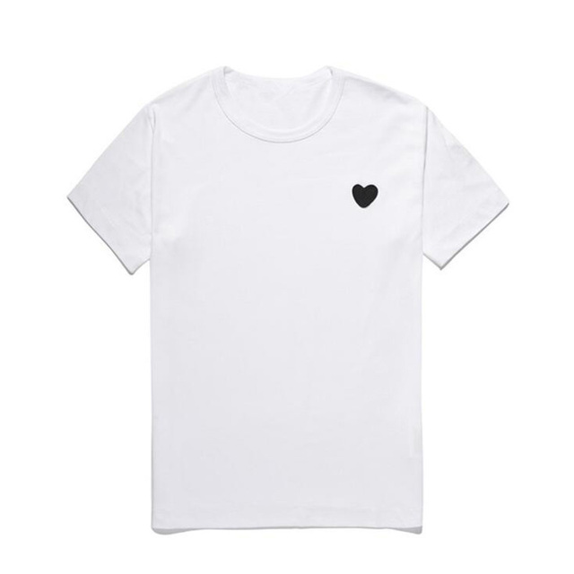 (Have Eyes)Men Women New T-shirt Round Neck Cotton Short Sleeve Embroidery Love-Heart Black Heart Spring Summer Loose T-shirt 2