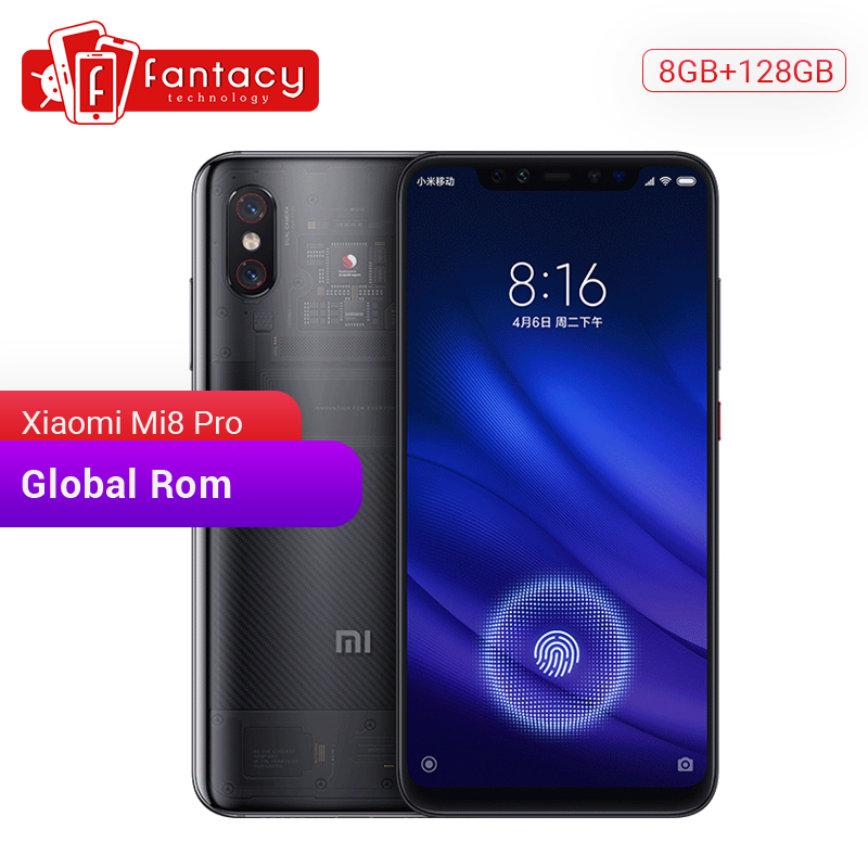 Global Rom Xiaomi Mi 8 Pro Mi8 Transparent 6GB 128GB Screen Fingerprint Snapdragon 845 Octa Core 6.21'' Smartphone Dual Camera