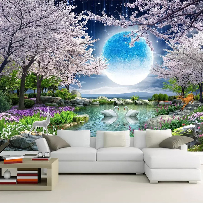 Custom-Mural-Wall-Paper-Moon-Cherry-Blossom-Tree-Nature-Landscape-Wall-Painting-Living-Room-Bedroom-Photo (4)