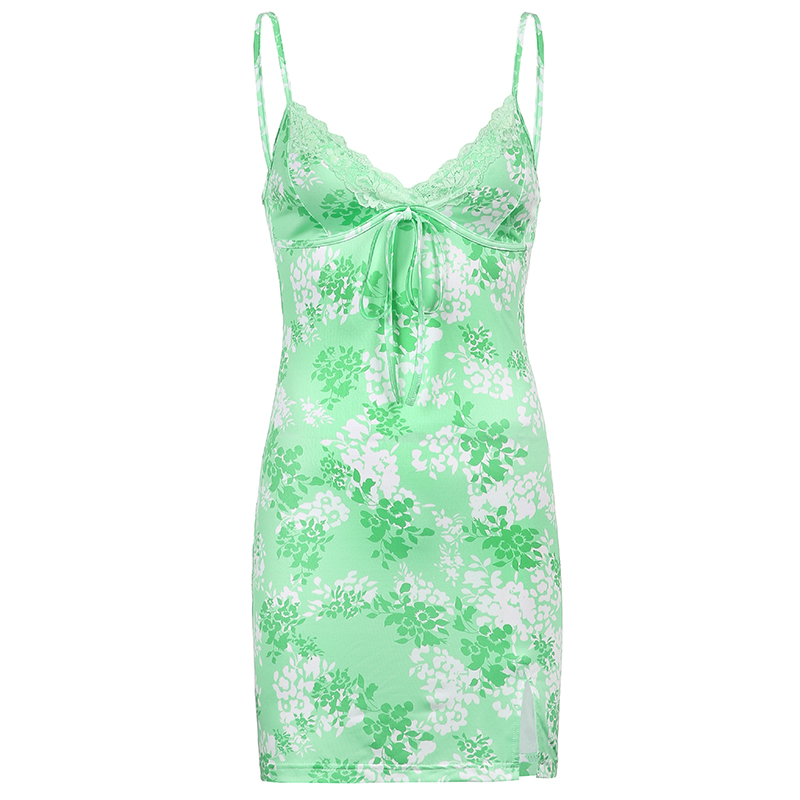 IAMSURE Streetwear Fashion Lace Edge Sexy V-Neck Split Bodycon Dress For Women Flower Print Aesthetic y2k Female Mini Dresses 9