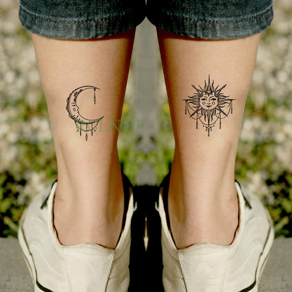 Waterproof Temporary Tattoo Sticker Sun Moon Fake Tatto Flash Tatoo Tatouage Wrist Foot Hand Arm Tatoos For Girl Women Men Kids