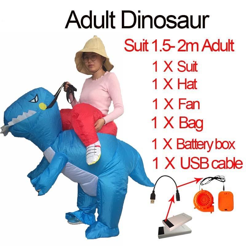 Jurassic World 2 Velociraptor Costume Inflatable T REX Dinosaur Costume Halloween Cosplay Adult Fantasy Raptor Mascot Costume (3)