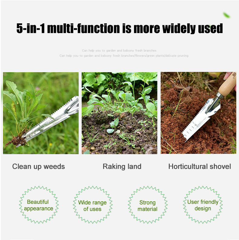 Garden Weeding Shovel Stainless Steel Hand Cutter Wooden Handle Digging Transplanting Weeding Tools DC156