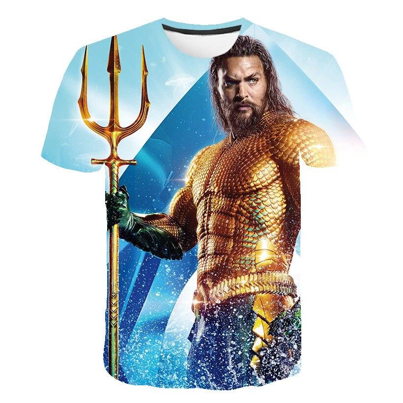 New 3D T-shirt Men's Ladies Summer Short-sleeved Poseidon 3D Printed Marvel Movie Costume Blue Short-sleeved Shirt O-neck Top