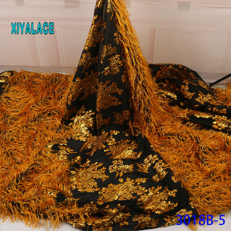 Latest African Lace Fabric With The Horse's Tail High Quality French Tulle Lace Swiss Lace Fabric For Woman Dresses YA3018B-5