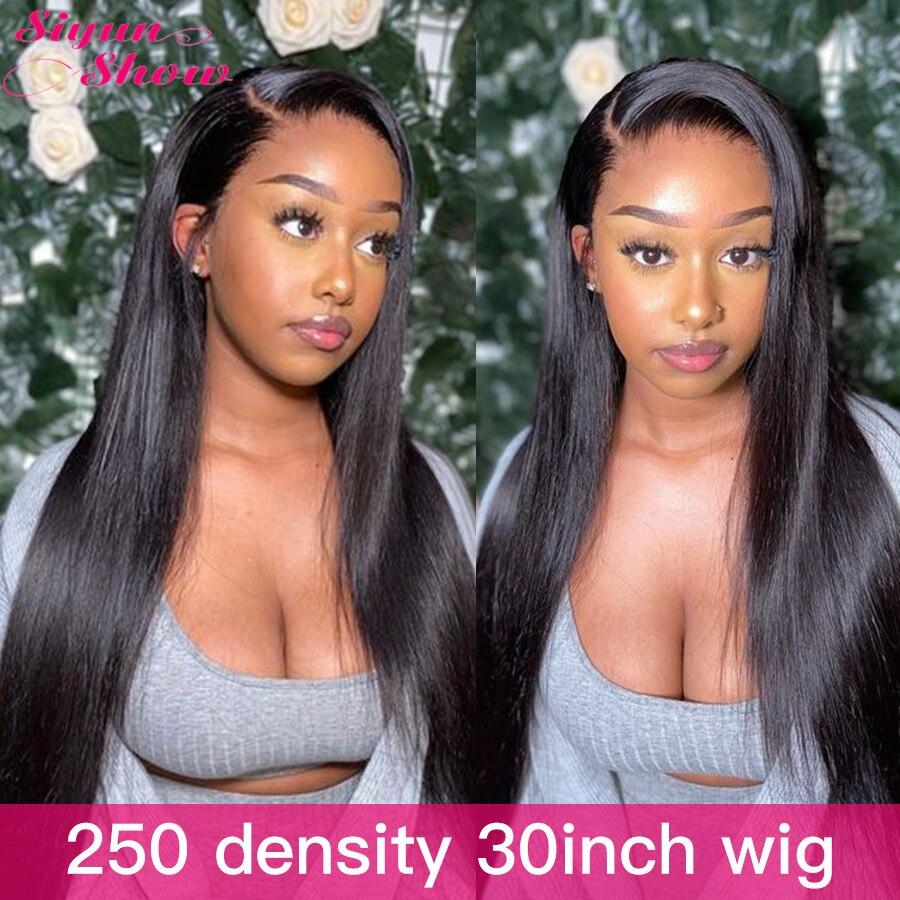 Siyun mostrar 250 densidade peruca do laço 30 polegada reta peruca lacefront cabelo humano 13x6 reta peruca dianteira do laço perucas de cabelo humano completo grosso