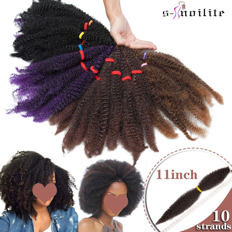 Snoilite 11inch Kinky Twist Braiding Hairstyle Afro Kinky Curly Bulk Synthetic Crochet Braids Hair Extensions For Black Women Aliexpress