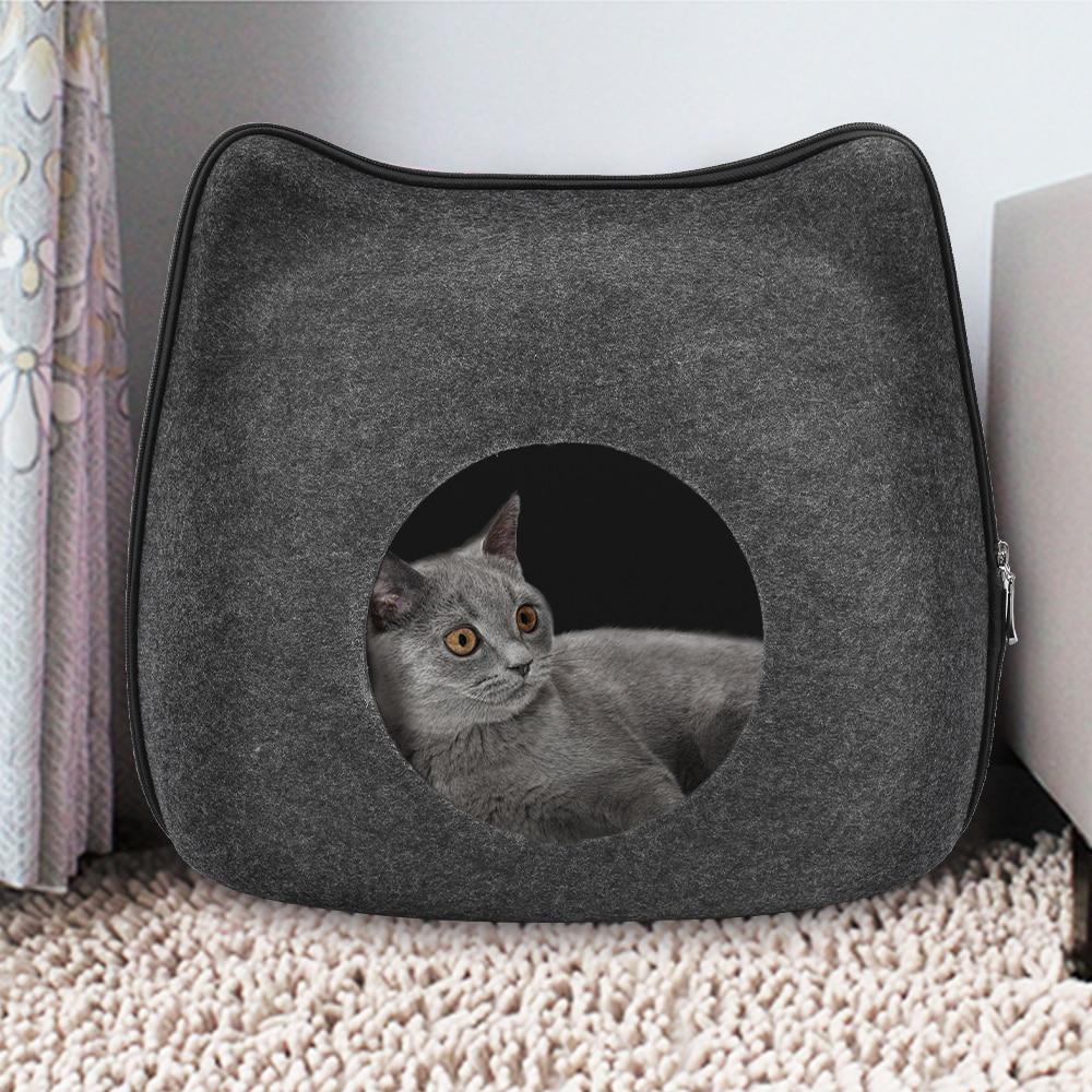 Съемная кровать для кошек из натурального войлока, дышащая Лежанка для кошек, темно-серая Лежанка для кошек с подушкой, аксессуары для домаш...