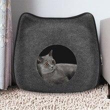 Destacável natural feltro gato cama respirável gato animal de estimação caverna cinza escuro cama de gato casa com almofada para animais de estimação gatos acessórios para animais de estimação