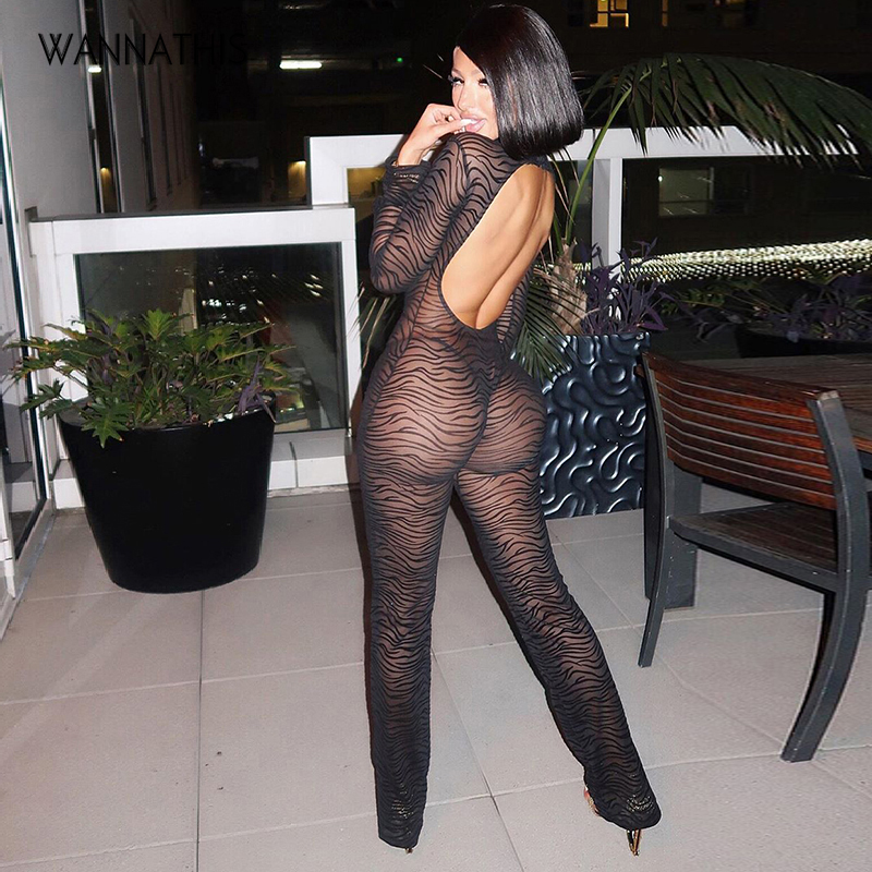 WannaThis Mesh Zebra Stripes Print Backless Hollow Out Sexy Women Jumpsuit Long Sleeve Full Length Slim Clubwear See-Through New