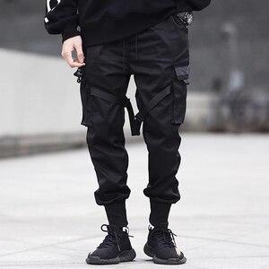 Image 3 - 2020 Hip Hop Cargo Pants Pockets Men Streetwear Harajuku Joggers Pants HipHop Swag Ribbion Harem Pants Fashion Casual Trousers