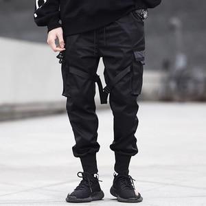 Image 3 - 2020 Hip Hop Cargo spodnie kieszenie mężczyźni Streetwear Harajuku spodnie joggery HipHop Swag Ribbion Harem spodnie moda spodnie typu Casual