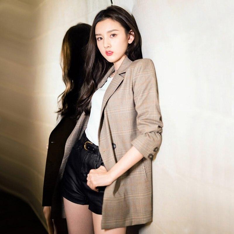 Autumn Light Coffee Blazer Slim Lapel Outerwear Fashion Women New Slim Type Casual Long Sleeve Plaid Jacket