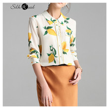Silviye Fresh printing long sleeve silk shirt women's design sense small shirt women tops blusas mujer de moda 2020