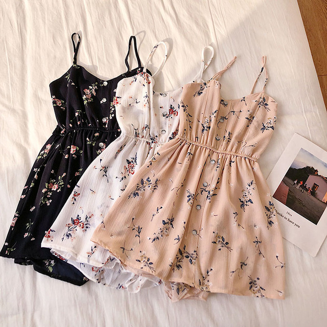 Floral Jumpsuits Women Beach Shorts Rompers New Summer Bohemian Print Overalls Fashion Women Slim High Waist Playsuits Femme 1
