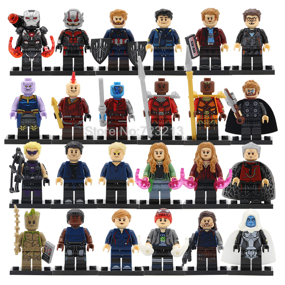 Super Heroes Avengers Infinity War Figure Thor Thanos Scarlet Witch Banner Iron Man Building Blocks Models Brick Toys Legoing
