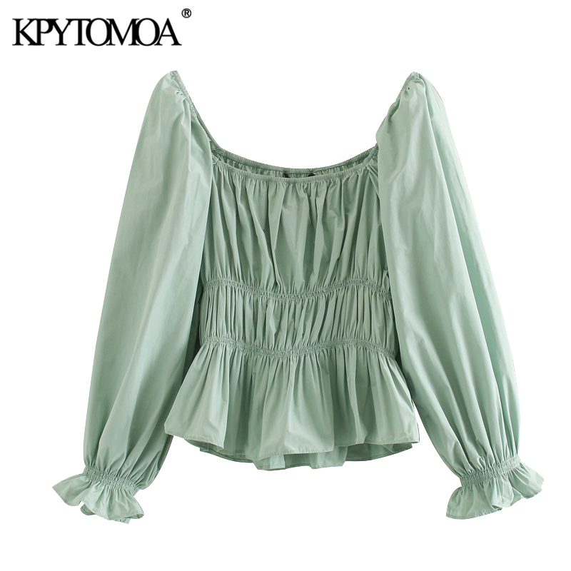 KPYTOMOA Women 2020 Sweet Fashion Stretch Ruffled Blouses Vintage Square Collar Three Quarter Sleeve Female Shirts Chic Tops