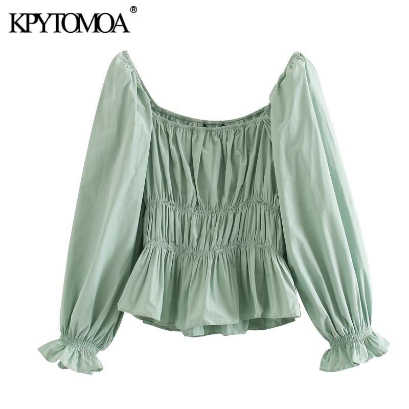KPYTOMOA Women 2020 Sweet Fashion Stretch Ruffled Blouses Vintage Square Collar Three Quarter Sleeve Female Shirts Chic Tops
