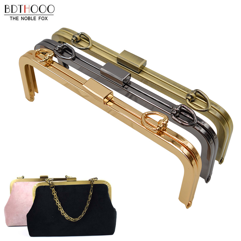 BDTHOOO 21.5cm Metal Purse Frame Women Handle Clutch Bag Accessories DIY HandBag Frame Kiss Clasp Lock Hardware
