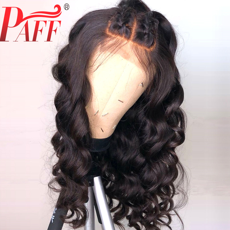 PAFF 13x4 Body Wave Lace Front Human Hair Wigs 3 Parts Glueless Brazilian Remy Hair Loose