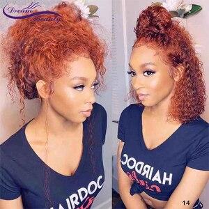 Dream beauty вьющиеся поддельные головы 13*6 кружева передние человеческие волосы парики средний коэффициент 8