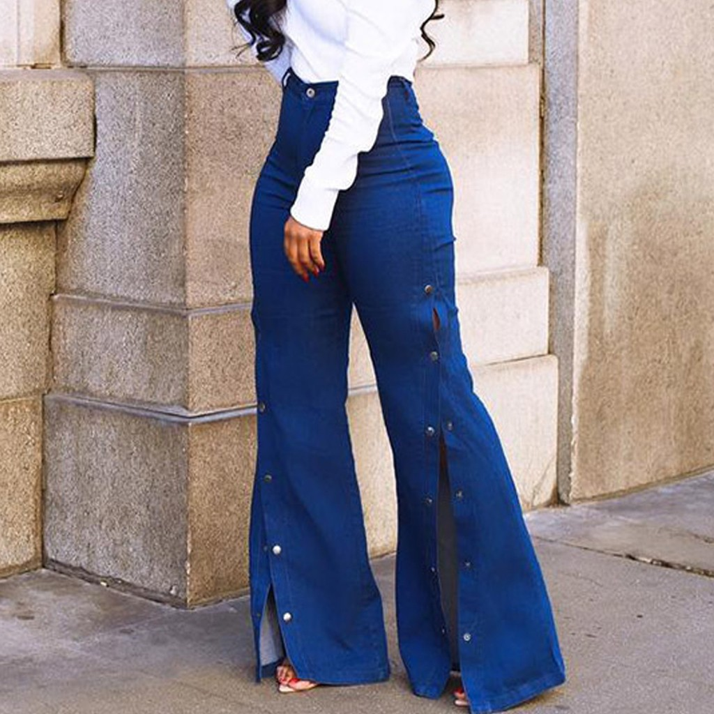 Stylish Big Flare Pants Women Bellbottoms Wide Leg Jeans Pant Office Lady Autumn High Waist Slim Skinny Long Trousers Wild Sexy