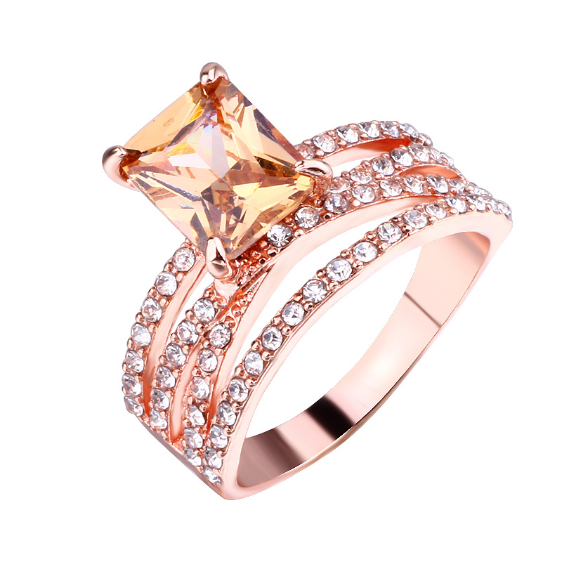 USTAR Square Champagne Cubic Zirconia Wedding Rings for women Sparkly Crystals Finger Engagement Rings Female jewelry Anel gift in Wedding Bands from Jewelry Accessories