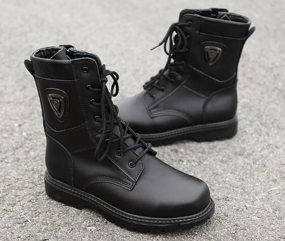 Spring Autumn Genuine Leather Military Boots  Fashion Lace-up Zip Falt Mid-Calf Oxford Round Toe  Martin Boots