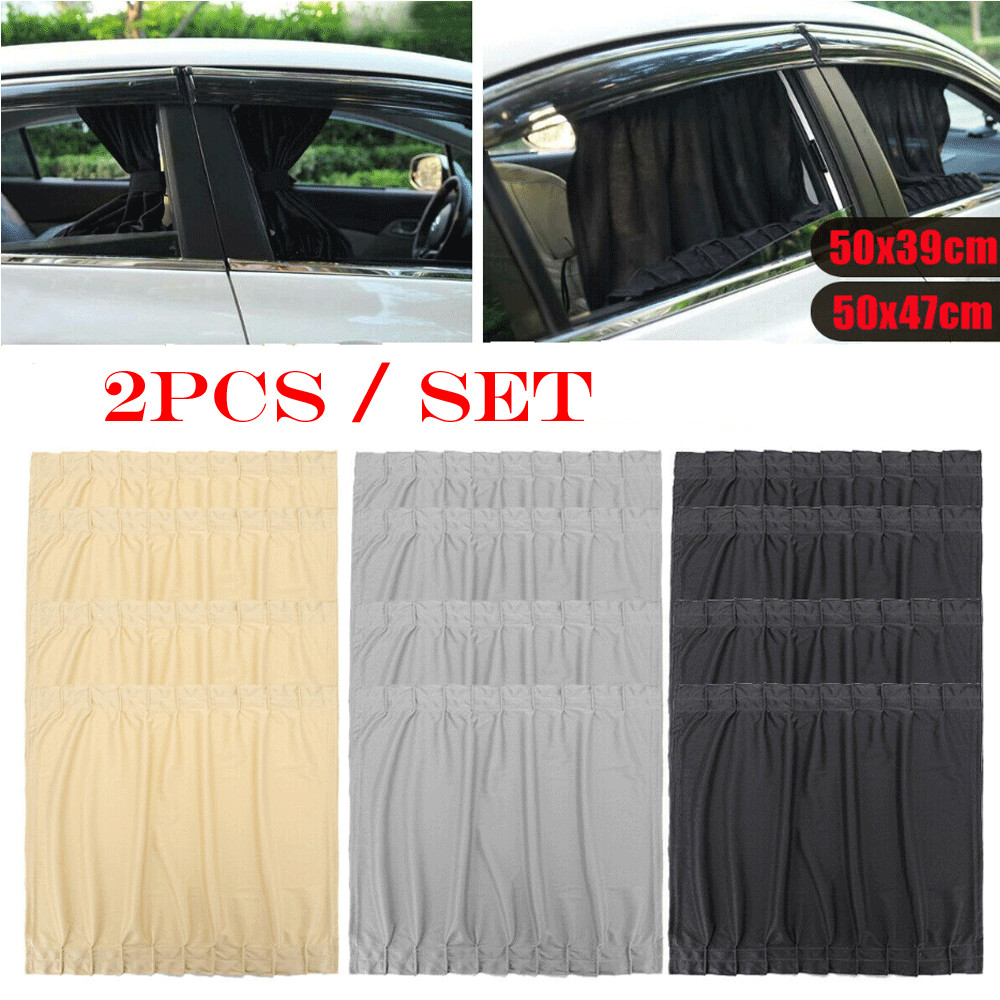 2x 50cm Car UV Protection Sun Shade Curtains Side Window Visor Mesh Cover Shield