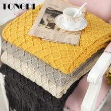 Tongdi ソフト暖かいチェック柄レースフリニットウール毛布かわいいギフトの装飾夏ソファ女の子オールシーズン手作り睡眠