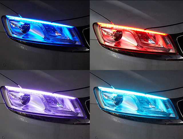 1pc Newest Cars DRL LED Daytime Running Lights Auto Flowing Turn Signal Guide Strip Headlight Assembly Car Styling Accessories