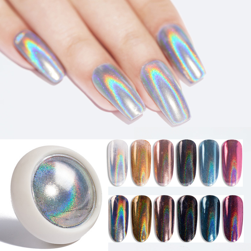 Holographics Nail Powder Laser Silver Nail Glitters Gradient Sparkly Dust Chrome Pigment For UV Gel Polish Nail Art Decoration