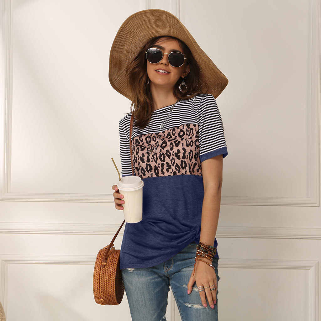 캐주얼 레오파드 인쇄 T 셔츠 여성 짧은 소매 스트라이프 o-넥 느슨한 봄 여름 티 셔츠 탑 여성 Camisa Feminina 2020