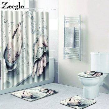 Zeegle Bath Mat Set Waterproof Shower Curtain with Hooks Toilet Pedestal Rug Anti Slip Bathroom Doormat Carpet 4pcs Toilet Set
