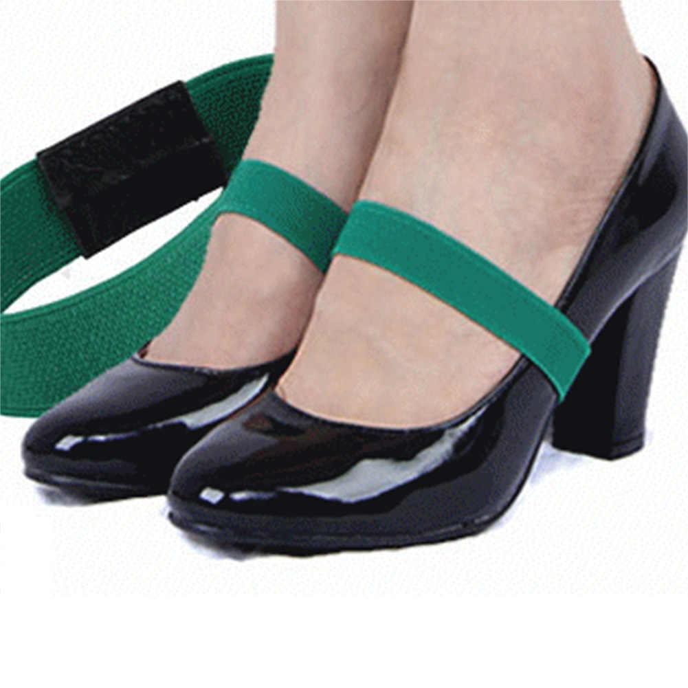 1 par de colores banda elástica correa de zapato cordones de Color sólido para correa de tacón alto zapatos de mujer Zapatillas cuerdas Anti-correa suelta