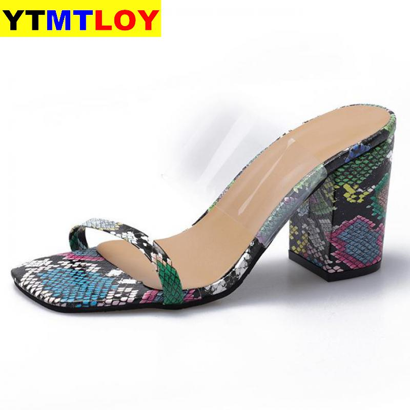 Women Transparent Sandals Ladies High Heel Slippers Open Toes Thick Heel Fashion Female Slides Summer Shoes Gladiator  Casual