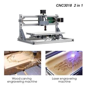 Image 4 - CNC3018 5500mW grawer laserowy DIY zestaw routera CNC 2 in 1 Mini laserowa maszyna grawerująca GRBL sterowania 3 osi rzeźbione w drewnie frezowanie