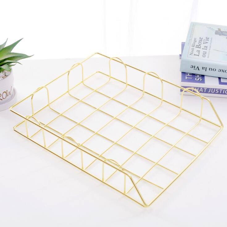 Iron Document Paper Trays  Desktop Book Shelf  2