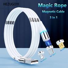 3A kabel magnetyczny szybki kabel ładujący do iPhone 12 Xiaomi Huawei Micro USB typ C magiczny kabel linowy automatyczny chowany drut tanie tanio HEZUGOYI TYPE-C CN (pochodzenie) USB A Magnetyczne 2 w 1 3 w 1 Złącze ze stopu Magic Rope Cable Magnetic Storage Cable
