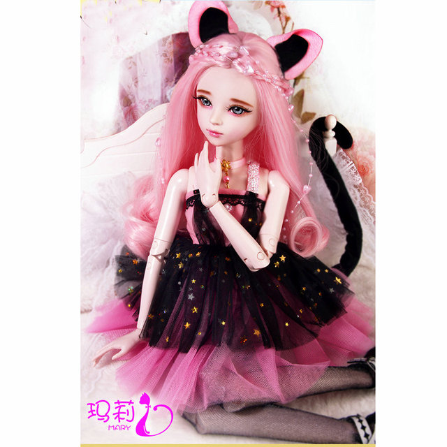 60cm Princess Cat Dolls Handmade 1 3 Bjd Doll Full Set with Makeup and Clothes Jointed