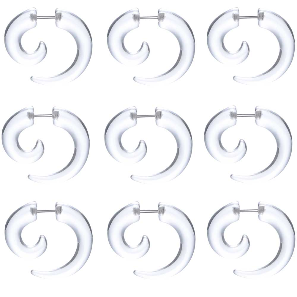 1Pair Acrylic Transparent Fake Ear Taper Expander Cheater Plugs Piercing Stretchers Jewelry Bioflex